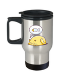Gift gor cat lovers , Cats dreams fish - Stainless Steel Travel Insulated Tumblers Mug 14 oz - Great Gift
