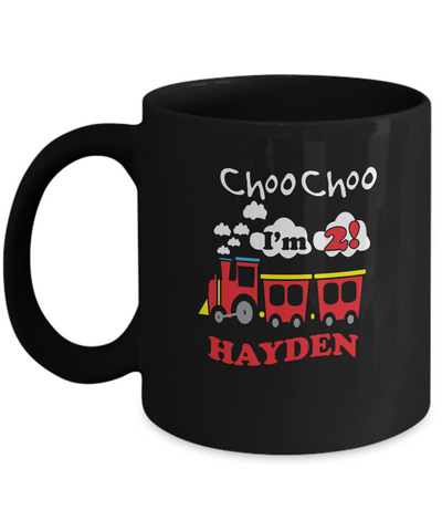 Choo Choo I'm 2 Hayden Kids special black coffee mugs birthday gifts - Black coffee tea mugs - 11 OZ Black coffee mugs and tea cups Gift Ideas