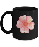 Flowers and Leaves 6 Black Mugs - Funny Christmas Kids Gifts Black coffee mugs 11 oz