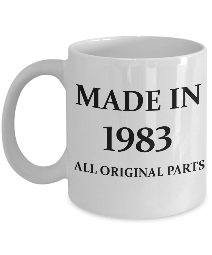 1983 birthday gifts for men cd & women, 35th Birthday Gifts - Made in 1983 All Original Parts - White Porcelain Coffee Cup,Premium 11 oz Funny Mugs White coffee cup Gifts Ideas
