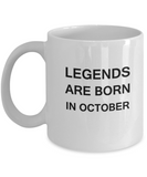 Legends Are Born In October Travel Mug Travel Coffee Mugs Tea Cups White coffee mugs 11 oz