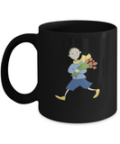 Boy with Flowers Black Mugs - Funny Christmas Gifts - Porcelain Black coffee mugs 11 oz