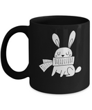 Christmas Doodles Rabbit Black coffee Mugs - Funny Christmas Black coffee mugs 11 oz