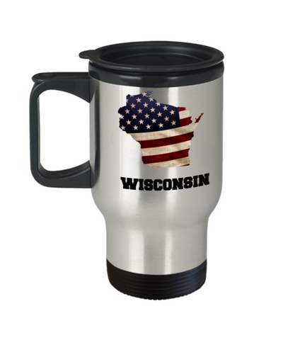 I Love Wisconsin Travel Coffee Mugs Travel Coffee Cup sets - 14 oz Travel mugs