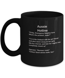 Aussie Hotline Black Mugs - Funny Christmas Kids Gifts - Porcelain Funny Black coffee mugs 11 oz
