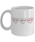 Write like a mother f mug, I Like you, I adore you, I love you - White Porcelain Coffee 11 oz