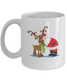 Antler Cow Santa white mugs - Funny Christmas Gifts - Funny White coffee mugs 11 oz