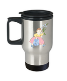 Girl with Flowers school travel mugs - Funny Christmas Kids Gifts 14 oz Travel mugs