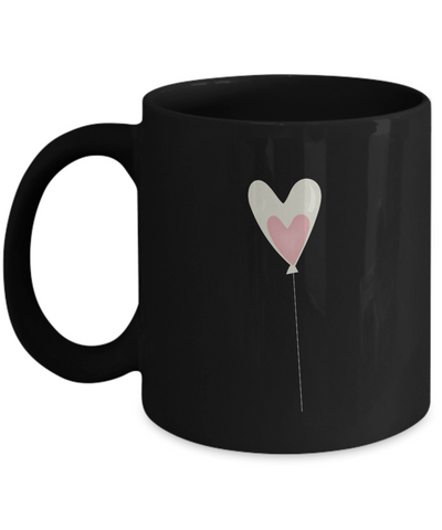 Valentine Love Balloons Black coffee Mugs - Funny Valentines Black coffee mugs 11 oz