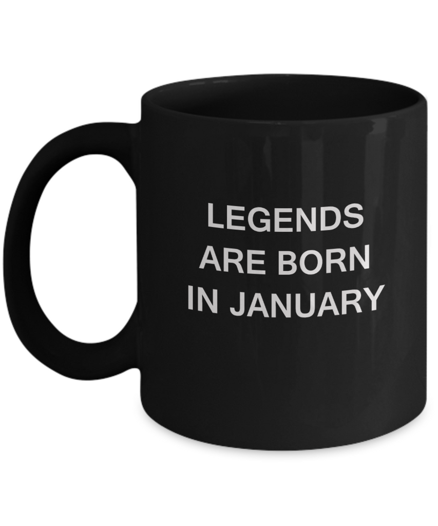Legends are born in January Month Travel Coffee Mugs - Star Sign Black coffee mugs 11 oz