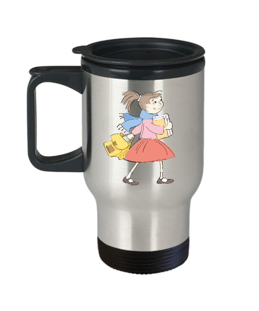 Girl going school travel mugs - Funny Christmas Kids Gifts - Porcelain 14 oz Travel mugs