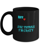 BFF Gift,BFF Funny Porcelain Black Mug for Best Friends Forever,Premium 11 oz Black coffee cup