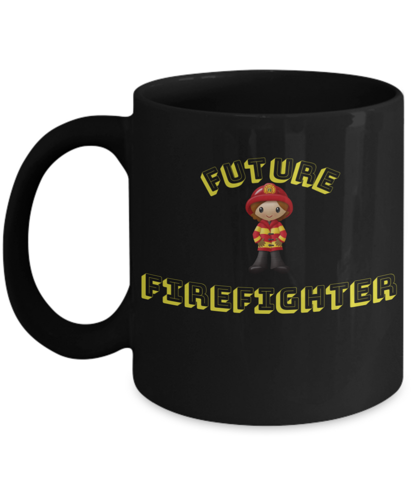 Future Firefighter Coffee Mug- Black Porcelain Coffee Cup,Premium 11 oz Black coffee cup