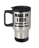 94th birthday gifts for Men/Women - Made in 1925 All Original Parts Arizona - Best 94th Birthday Gifts for family Travel Mugs, Funny Mugs Gift Ideas 14 Oz