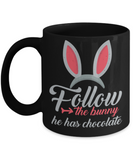 Easter bunny mugs - Follow the bunny, he has the chocolate - Black Porcelain Coffee Mug Cute Ceramic Cup 11 oz