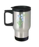 Bouquet Sprigs Blue Smooth Travel Mugs - Funny 14 oz Travel mugs