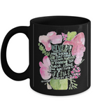 Bible verse mugs for women , Rid ourselves of every burden - Black Coffee Mug Porcelain Tea Cup 11 oz - Great Gift