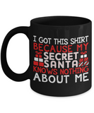 Santa Lovers Mugs , Secret Santa - Black Coffee Mug Porcelain Tea Cup 11 oz - Great Gift