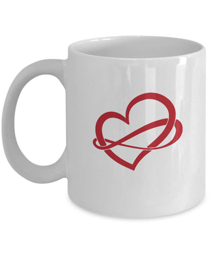 Infinite Heart Love Black coffee Mugs - Funny Valentines day Gifts White coffee mugs 11 oz