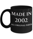 2002 birthday gifts for men cd & women, 16th Birthday Gifts - Made in 2002 All Original Parts - Black Porcelain Coffee Cup,Premium 11 oz Funny Mugs Black coffee cup Gifts Ideas