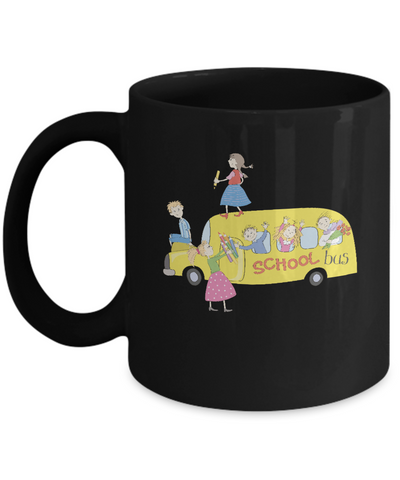 School Bus Kids Black Mugs - Funny Christmas Kids Gifts Black coffee mugs 11 oz