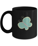Floral Butterfly Black Mugs - Funny Christmas Gifts - Porcelain Black coffee mugs 11 oz