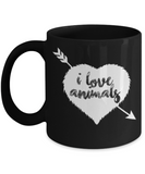 Gift gor Animals lovers , I love animals - Black Coffee Mug Porcelain Tea Cup 11 oz - Great Gift
