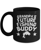 GRANDPA'S Future  Fishing Buddy Coffee Mug - Black coffee mugs 11 oz