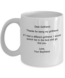 Dear Girlfriend Thank You for Being My Girlfriend white coffee mugs 11 oz