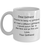 Lesbian Gifts Mugs - Dear Girlfriend, Thanks for being my Girlfriend - White Porcelain Coffee Cup,Premium 11 oz Funny Mugs White coffee cup Gifts Ideas
