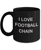 I Love Football Chain mugs, Football Lovers Mugs- Black Funny Mugs Coffee cups 11 oz
