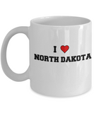 North Dakota Tea Coffee Mugs,I Love North Dakota USA States Ceramic Coffee Mug Tea Cup Gifts Mugs 11 oz Funny Mugs