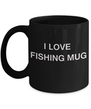 Fishing Lovers mugs, I Love Fishing Mug - Black Porcelain Funny Mugs Coffee cups 11 oz