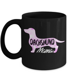 Dachshund Lovers Mugs , Dachshund Mama - Black Coffee Mug Porcelain Tea Cup 11 oz - Great Gift