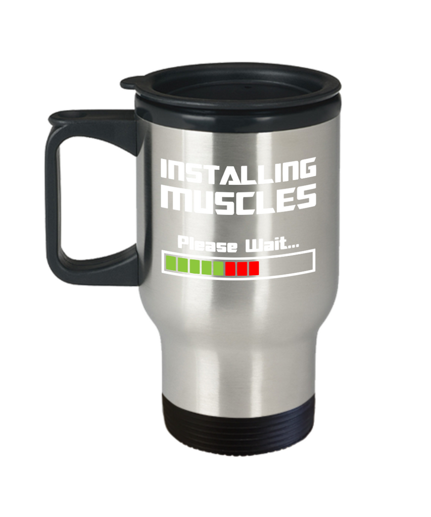 Fitness Lovers mugs , Installing Muscles - Stainless Steel Travel Insulated Tumblers Mug 14 oz - Great Gift