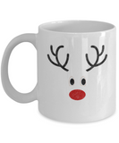 Christmas gift ideas, Reindeer - Funny White Porcelain Coffee Mug Cute Ceramic Cup 11 oz