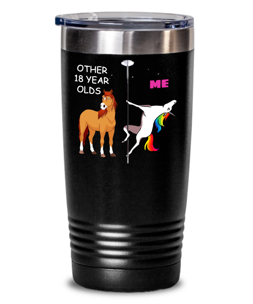 18 year old girl gifts funny unicorn farts mugs, Other 18 Years Olds & Me Unicorn - Tumblers With Birthday Quotes
