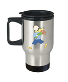 Boy with Flowers travel mugs - Funny Christmas Gifts - Porcelain 14 oz Travel mugs