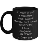 Mothers gift special love heart poem mug - Handprint on my Heart, Love you Mom - Black Porcelain Coffee Mug Cute Ceramic Cup 11 oz