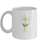 Floral White Flower white mugs - Funny Christmas Gifts - White coffee mugs 11 oz