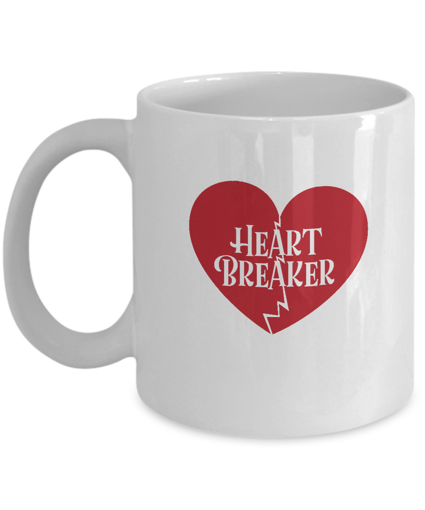 Heart Breaker coffee Mugs - Funny Valentines day Gifts -White coffee mugs 11 oz