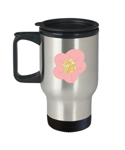 Floral Rose Flower travel mugs - Funny Christmas Gifts - 14 oz Travel mugs