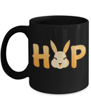 Easter bunny mugs - Bunny Hop - Funny Black Porcelain Coffee Mug Cute Ceramic Cup 11 oz