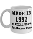 21st birthday gifts for men/women, Texas 1997 Birthday Gift Mugs - Made in 1997 All Original Parts Texas - Best 21st Birthday Gifts for family Ceramic Cup White, Funny Mugs Gift Ideas 11 Oz