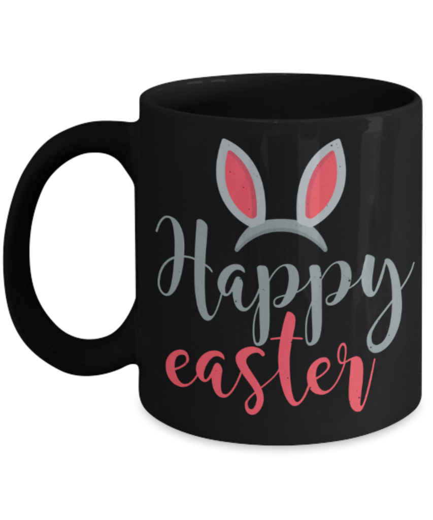 Easter bunny mugs - Happy Easter Bunny - Funny Black Porcelain Coffee Mug Cute Ceramic Cup 11 oz