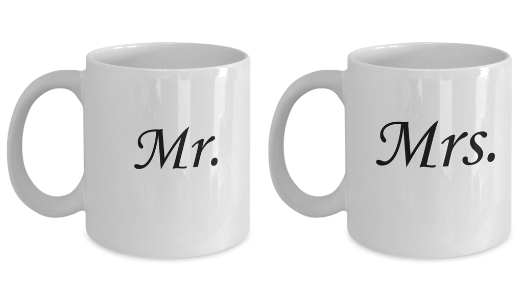 Mr and Mrs Coffee Mug Set - Each Mug Holds 11 OZ White