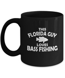 This Florida guy loves Bass Fishing black mugs for fishing lovers and florida people - Black coffee tea mugs - 11 OZ Black coffee mugs and tea cups Gift Ideas