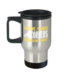 Bike Lovers Mugs , Catch me pinning corners - Stainless Steel Travel Insulated Tumblers Mug 14 oz - Great Gift