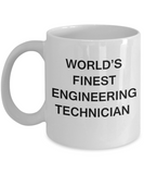 World's Finest Engineering technician - Porcelain White Funny Coffee Mug 11 OZ Funny Mugs