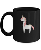 Floral Red Unicorn Black Mugs - Funny Christmas Gifts - Porcelain Black coffee mugs 11 oz